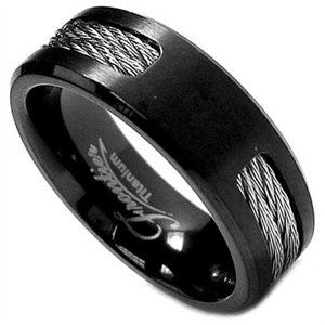 Black Titanium Ring Wedding Band With Twisted Steel Cables