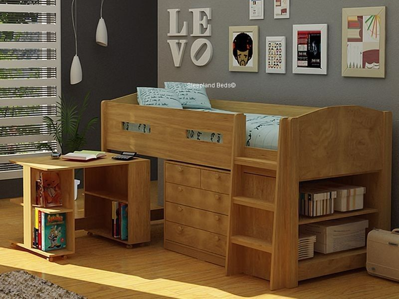 Details About Mayfair Midsleeper With Storage Desk Oak