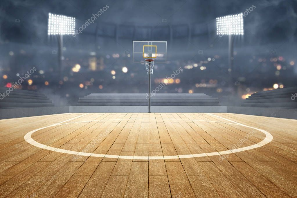 Basketball Court With Wooden Floor Lights Reflectors And Tribu Stock Image Affiliate Wooden Floo Basketball Court Flooring Basketball Court Basketball