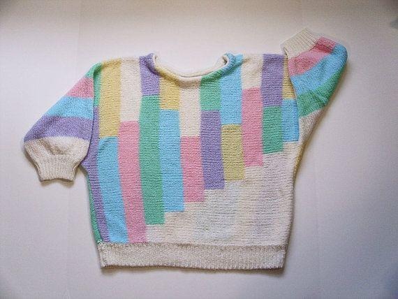 9e801ca449 Vintage 80s Pastel Sweater