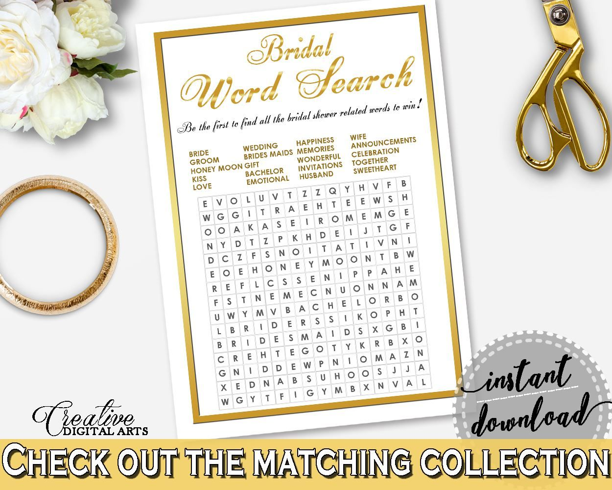 Gold And White Gold Frame Bridal Shower Theme: Word Search - blanket ...