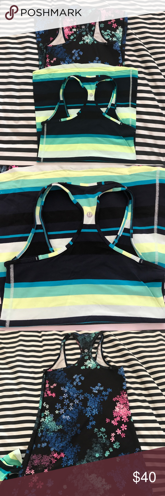 Lululemon set of 2 Cool Racerback Tanks size 6 One stripe and one floral Cool Racerback Tank in excellent condition size 6 lululemon athletica Tops Tank Tops