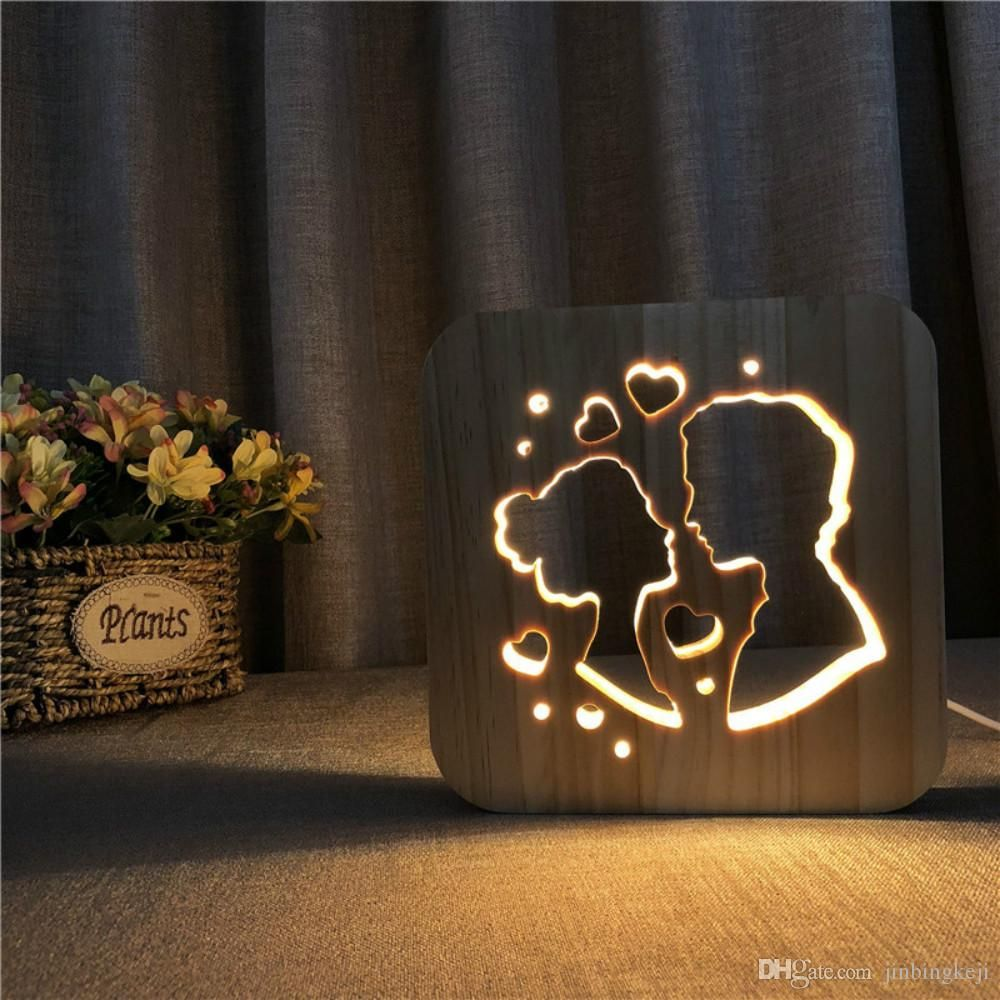 Valentine S Day Led 3d Light Lamp Wooden Nightlight Usb Power Home Bedroom Table Desk Decoration Lamp Wood 3d Carving P Wooden Lamp Baby Night Light Wood Lamps