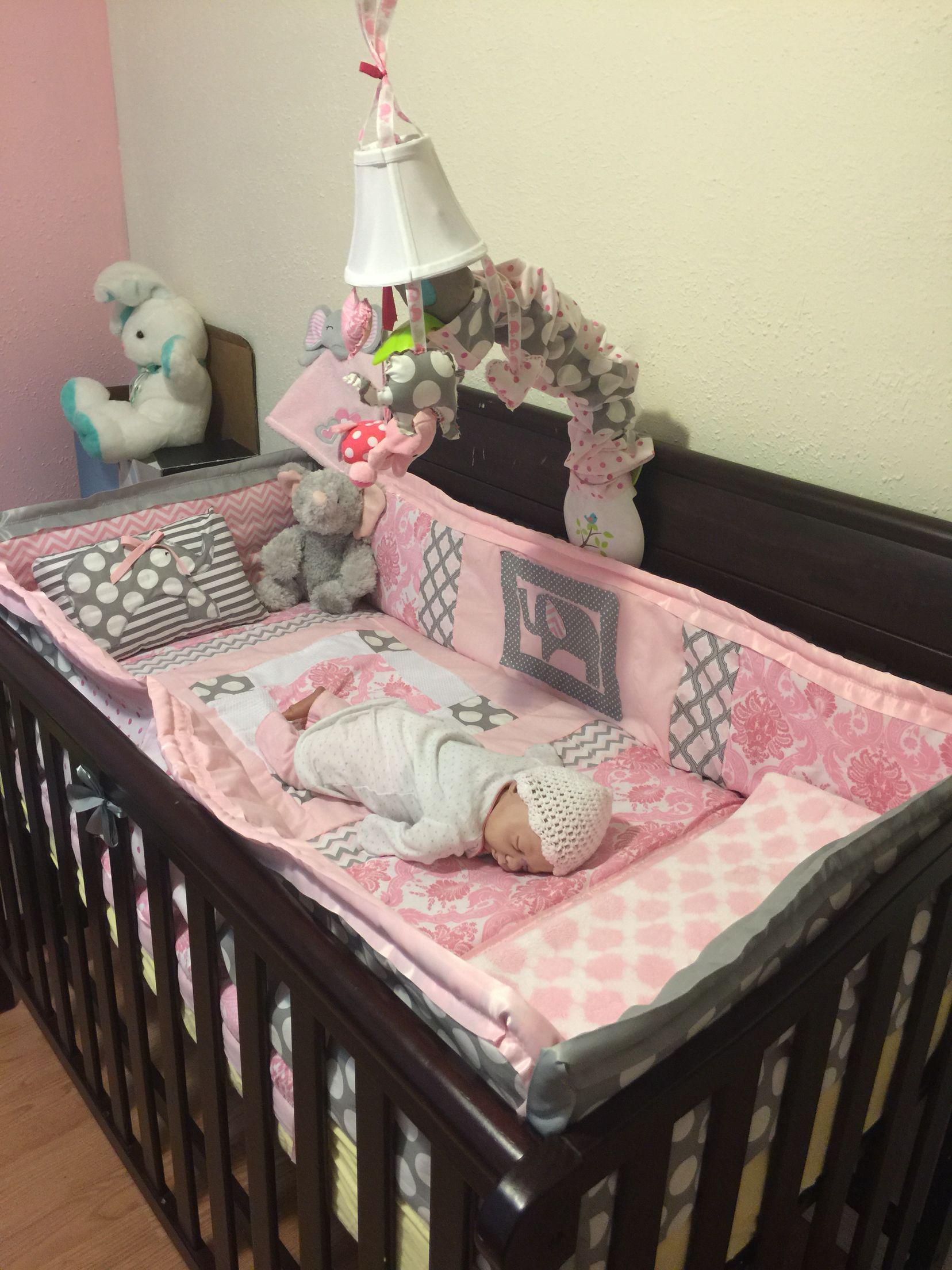 Nursery Bedding Pink And Grey Elephants Baby Girl Room Baby