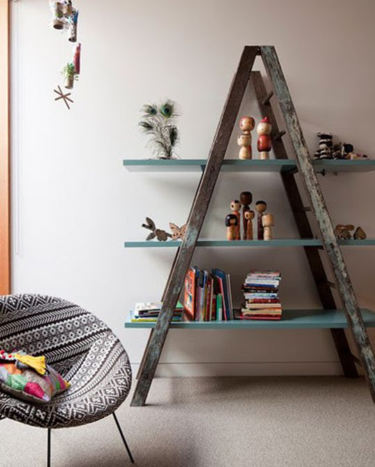 Old And Beautiful Ladders Can Easily Be Used To Create Attractive Shelves Great For Storing