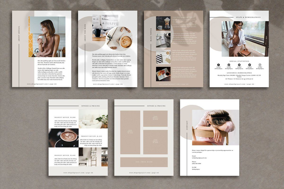 Media Kit Canva Template Abigail Media Kit Media Kit Template Online Graphic Design