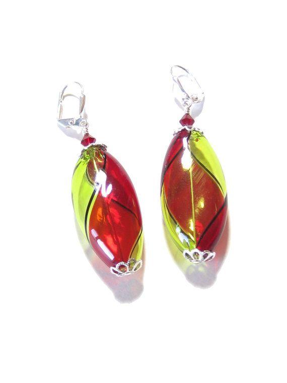 Venetian Blown Glass Red Peridot Long Oval Silver by JKCJewels, $34.00