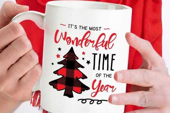 It's The Most Wonderful Time of the Year Mug, Buffalo Plaid, Christmas Tree Cup, Custom Mug, Holiday #custommugs