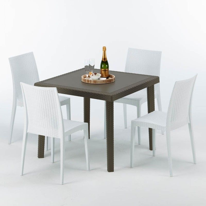 Table Carree Et 4 Chaises Colorees Poly Rotin Resine 90x90 Marron Bistrot Blanc Grand Soleil Table Square Tables Colorful Chairs