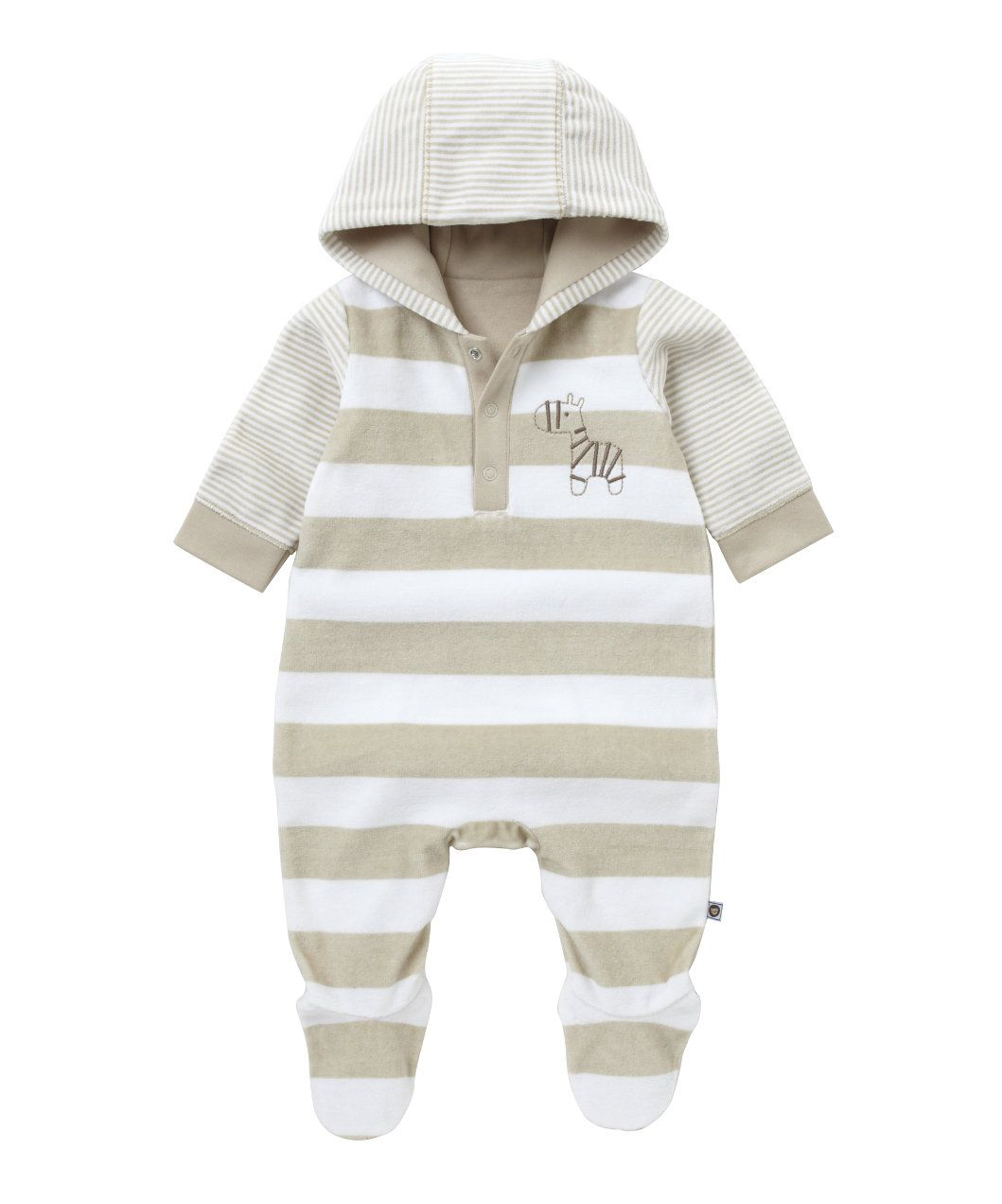 Mothercare Hooded Stone Striped Velour All In One   All In Ones   Mothercare
