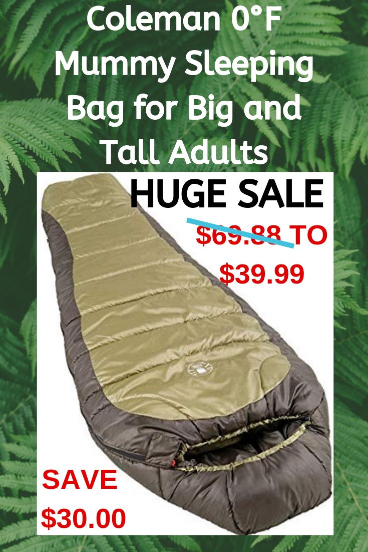 North Rim Cold-Weather Sleeping Bag Coleman 0/°F Mummy Sleeping Bag for Big and Tall Adults