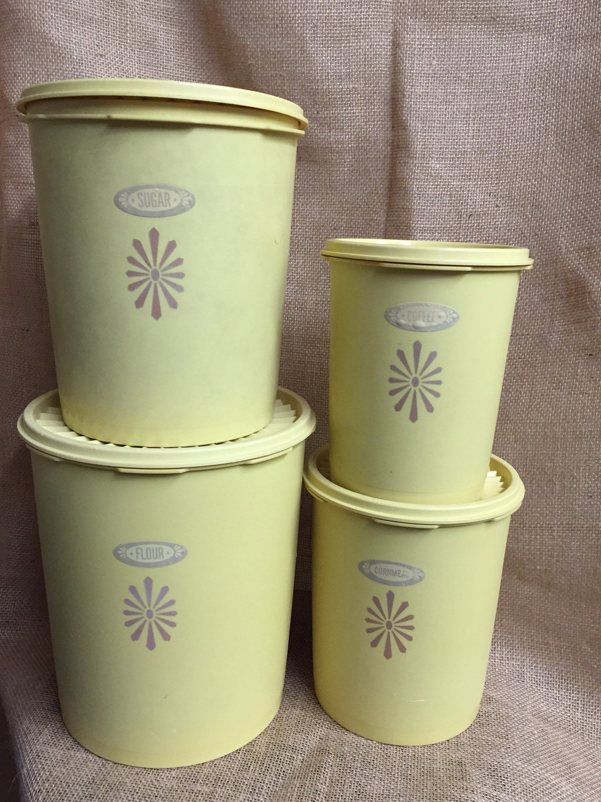 Photo of Servalier Yellow Canister Set with Lids, 8 pieces, Vintage Tupperware