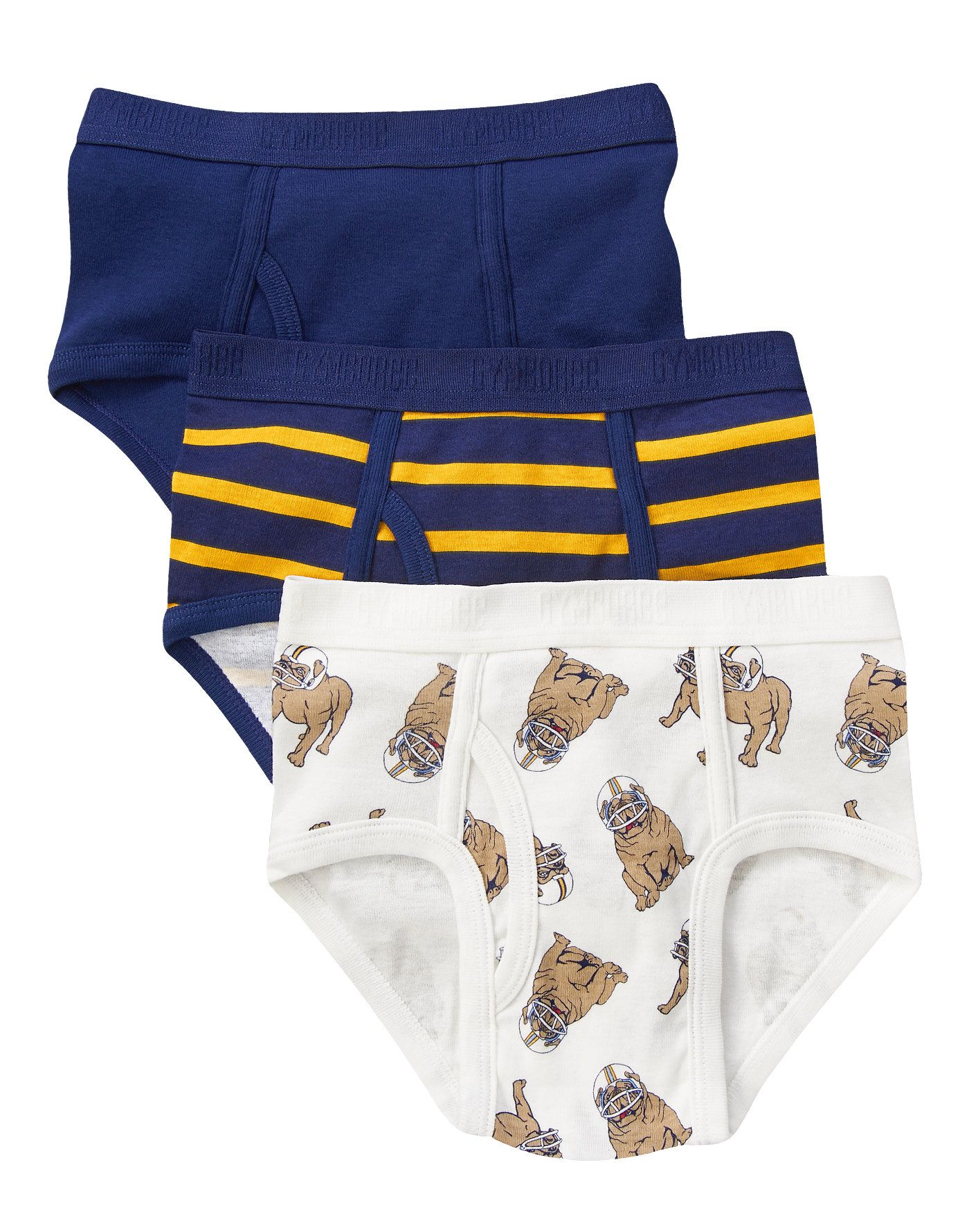 Bull Dog Blue Briefs Three Pack At Gymboree Underwear