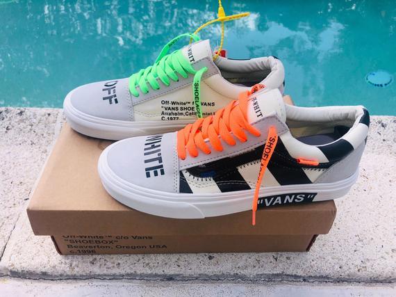 Vans Old Skool x Off Orange Green Inspired Custom Design
