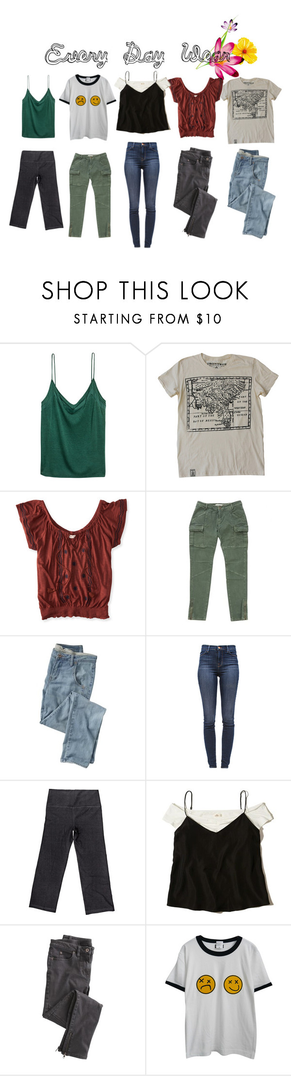 """""""every day wear"""" by travel-out ❤ liked on Polyvore featuring H&M, Aéropostale, Maje, Wrap, J Brand, 3N2, Hollister Co. and Chicnova Fashion"""