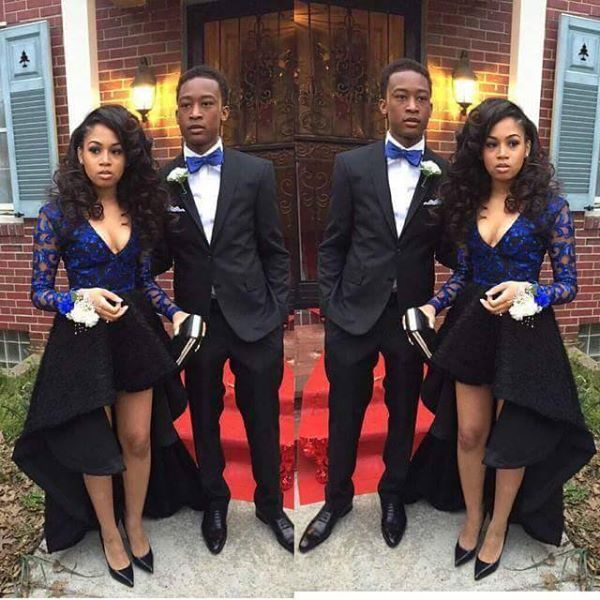72af211fac7e Prom couple - black & blue outfits. Beautiful! | prom in 2019 | Prom ...
