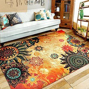 ZIGUO Medallion Floral Shapes Area Rug Multicolor Multi Color