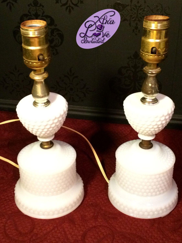 Pair of Vintage Milk Glass Hobnail Electric Lamps