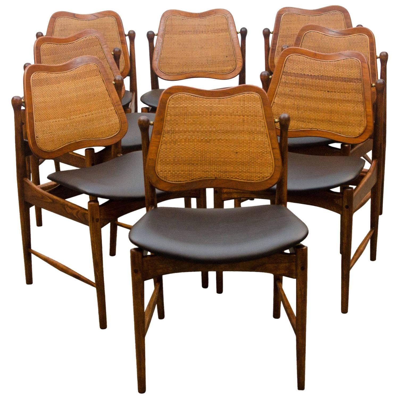 Set of Eight Danish Swivel-Back Dining Chairs, Arne Vodder 1