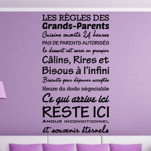 Sticker Texte Les Règles Des Grands Parents Home