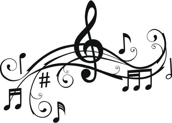 Music Notes, Wall Art Words, Vinyl Lettering, Stickers, Decals, Treble Clef Notes #musicnotes