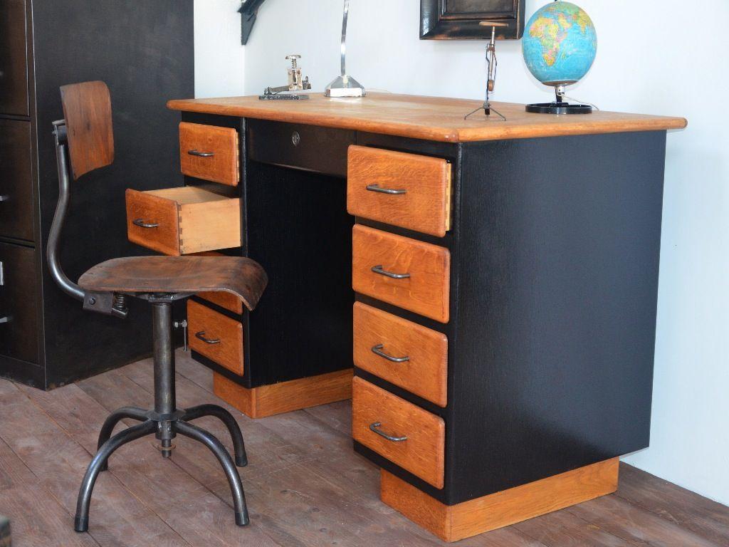 Bureau bois bureau vintage bureau industriel bureau bois métal