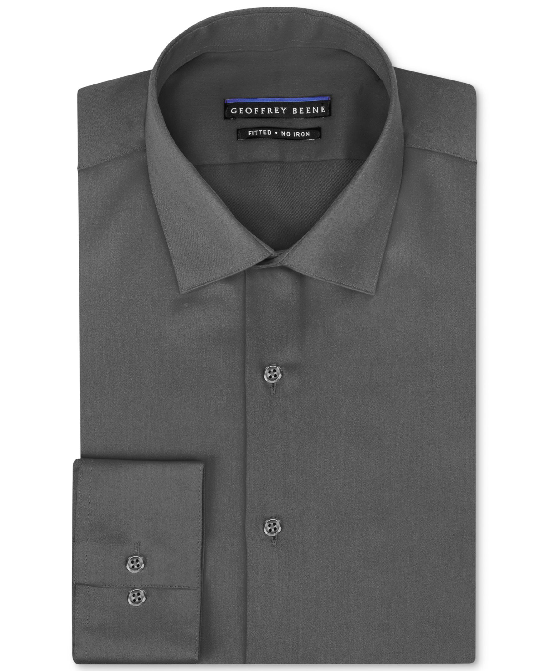 a981062924 Geoffrey Beene Non-Iron Fitted Stretch Sateen Solid Dress Shirt ...