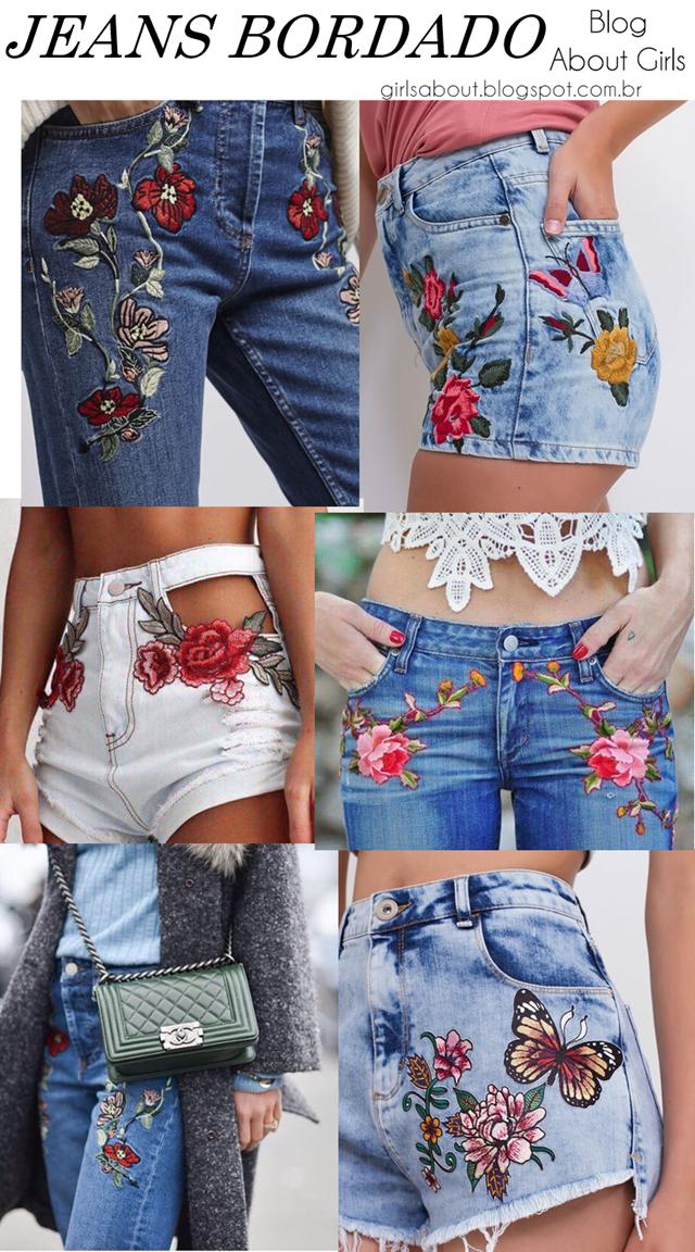 f1f402cf1 Shorts bordado e calça jeans bordada (com patches) esta na moda e é  atendencia que vai bombar no verão 2018. Pinterest   giovana