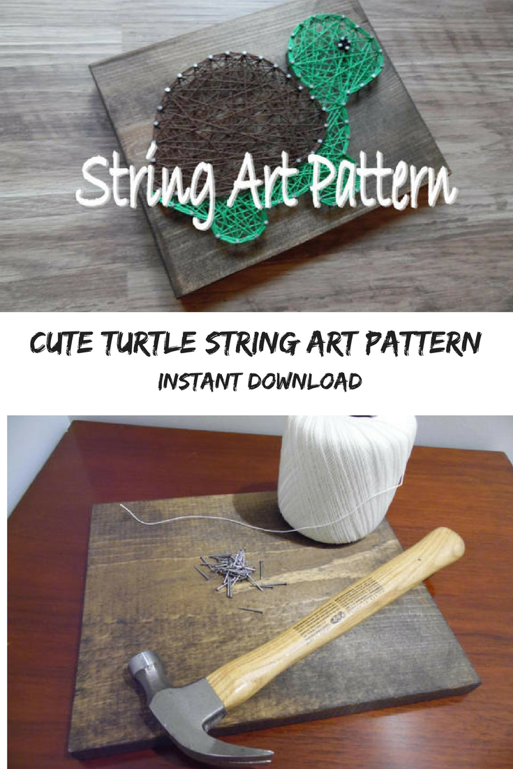 Cute turtle string art pattern for instant download wallart ad