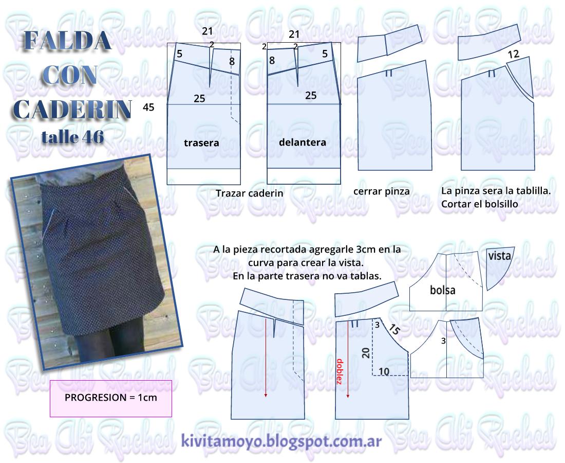 KiVita MoYo: FALDA CON CADERIN - cintura anatomica | MOLDES DE ROPA ...