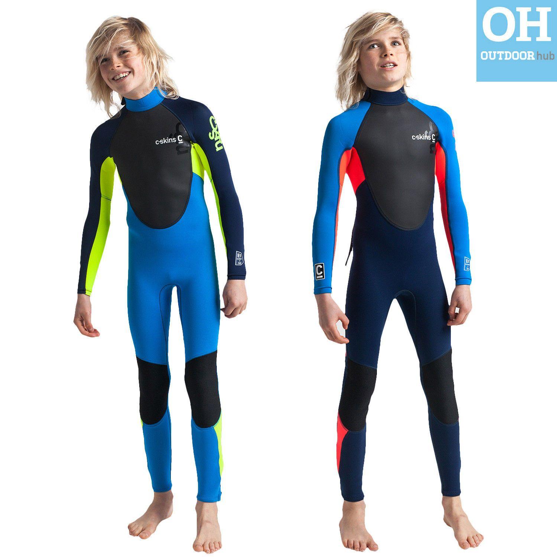 5f085e8b40 C-Skins Junior Element Wetsuit 3/2mm Childs Full Length Kids Boys ...