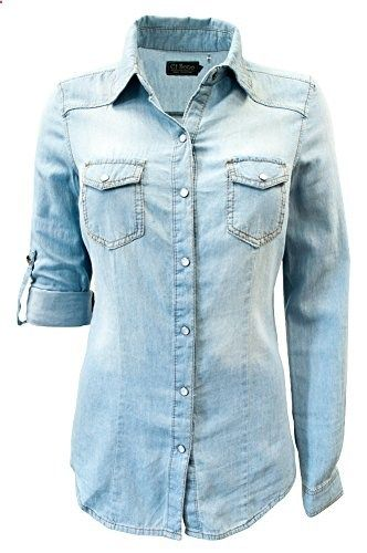 2cc0e862 Ci Sono By Cavalini Womens Pearl Snap Denim Shirt. TP012 large light wash  Go to the website to read more description.