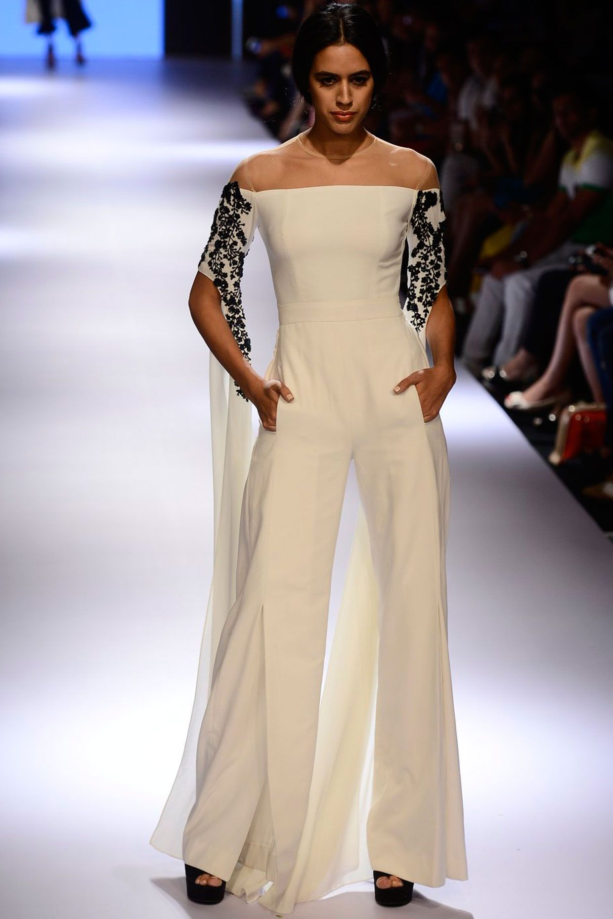 241356b39e2a White off shoulder embroidered jumpsuit available only at Pernia s Pop Up  Shop.