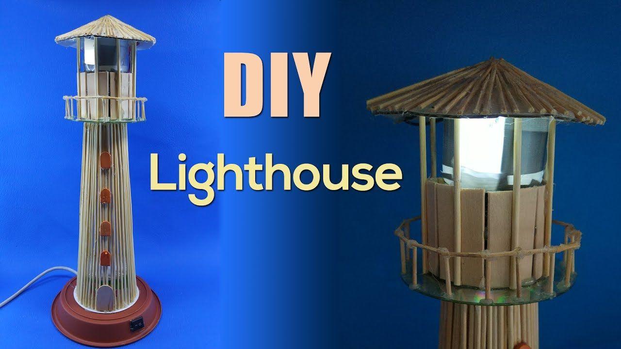 Usb Powered Lighthouse Desktop Wooden Sticks Lighthouse Lamp Popsicle House Lighthouse Lamp Clay Pots