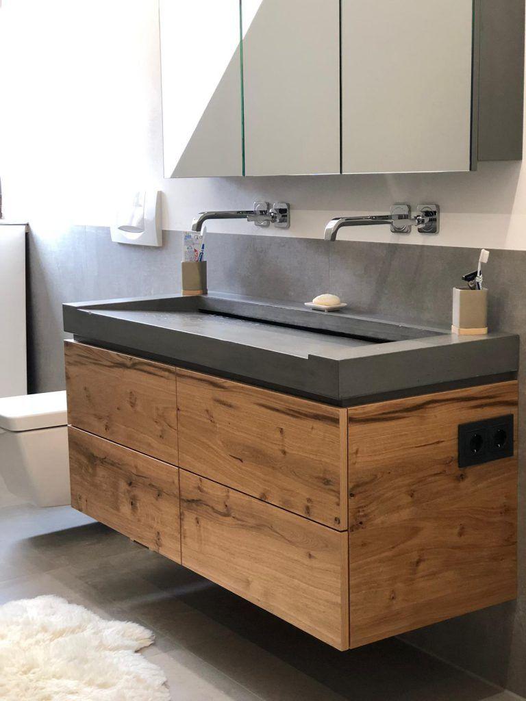Betonwaschtisch – Schicke Kombination aus Sichtbeton und Holz fürs eigene Bad