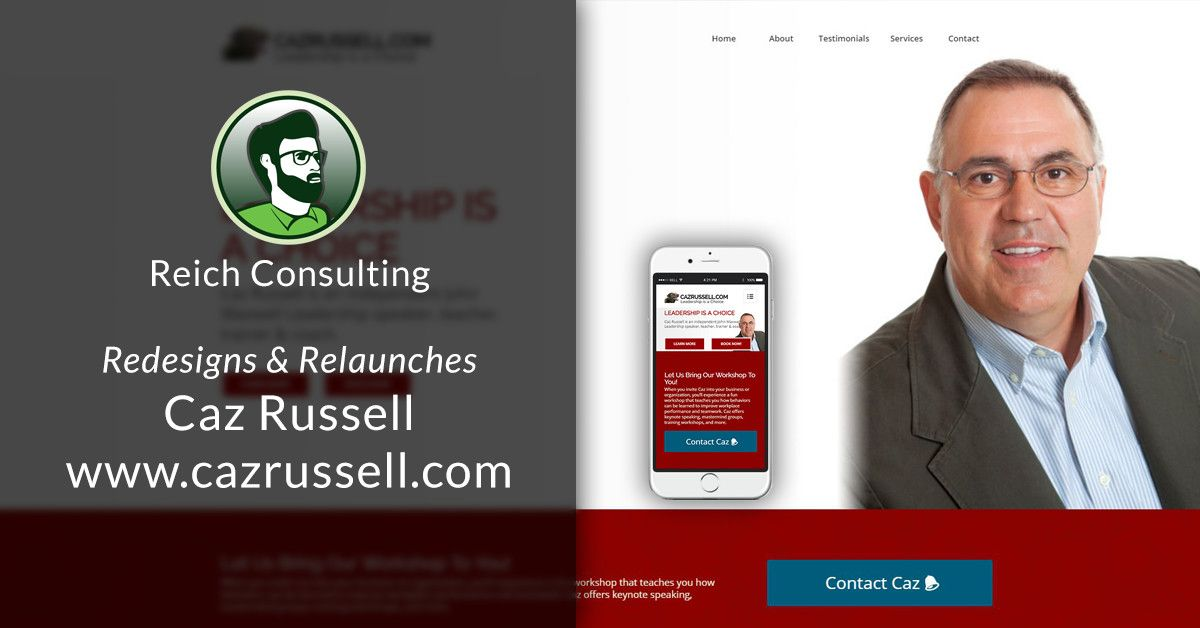 Check out my design for Caz Russell, a John Maxwell Leadership speaker & coach. I gave Caz a responsive site focused on integration with his national brand.