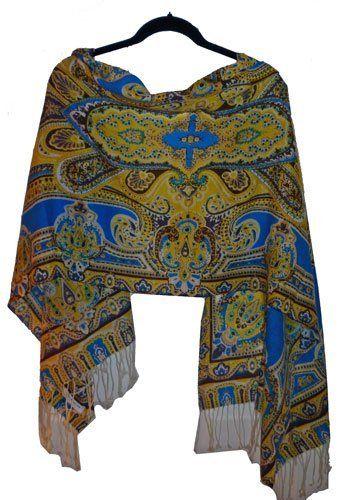 Yellow and Turquoise Paisley Pashmina Teramasu. $29.95. Save 57%!