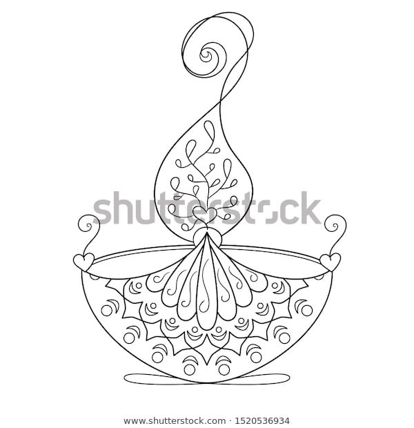 Find Coloring Page Burning Diya Diwali Light Stock Images In Hd