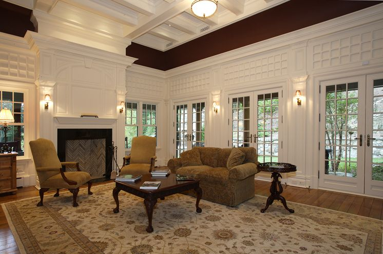The Fireside Living Room With 10 Ft High Raised Panel Walls And 13 Ft Coffered Ceiling Features French Doors Raised Panel Walls Coffered Ceiling Home Buying