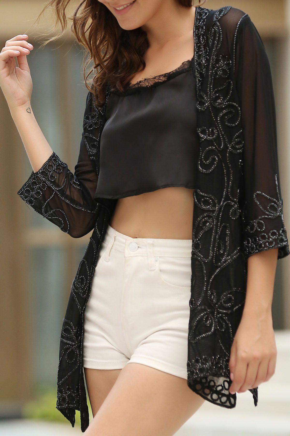 Beaded seethrough collarless 34 sleeve blouse black