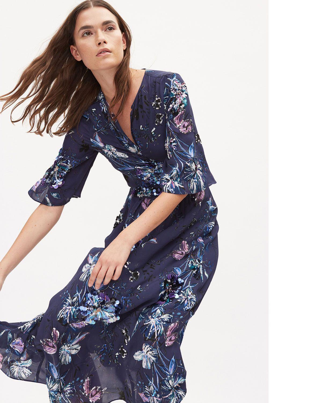 Kobi halperin maria printed shortsleeve midi wrap dress
