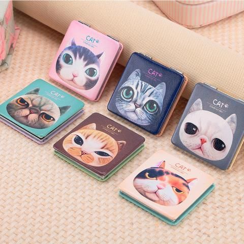 Cute Cat Pocket Mirror - Two Stupid Cats Look at the Cat in the Mirror.  Size: 6*6*1cm