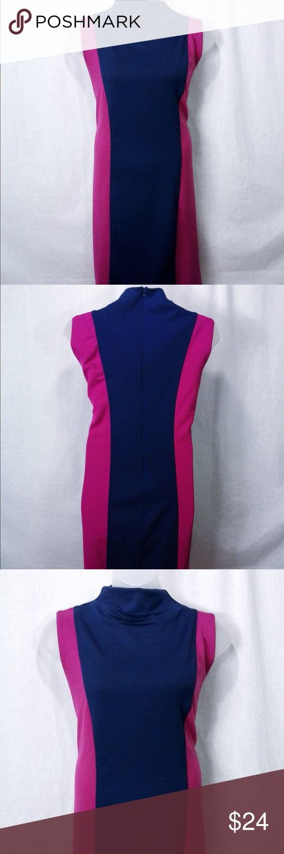 Ashley Stewart Knit Sheath Dress Prepare for boardroom fierceness when you rock this hot number! The colorblocking is bold while the sleek silhouette on this plus size dress is a classic must. An effortlessly chic brand, Ashley Stewart provides women with modern and runway style apparel for all occasions.  Ponte knit fabric - has stretch High gathered neck Sleeveless Fuchsia side panels with contrasting royal blue middle panels for a flattering slimming silhouette Size 22 Hits right at the…