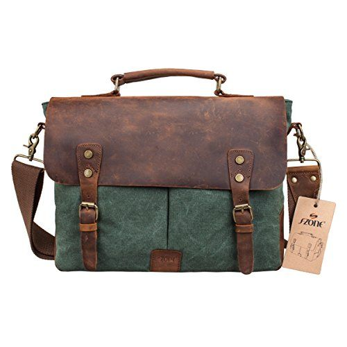 S Zone Fashion Canvas Genuine Leather Trim Travel Briefcase Backpack Laptop Bag