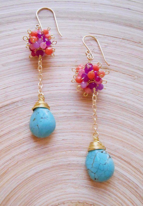 New Handmade Natural bleu turquoise Sterling Silver Dangle Leverback Boucles D'oreilles Bijoux et montres Boucles d'oreilles fantaisie