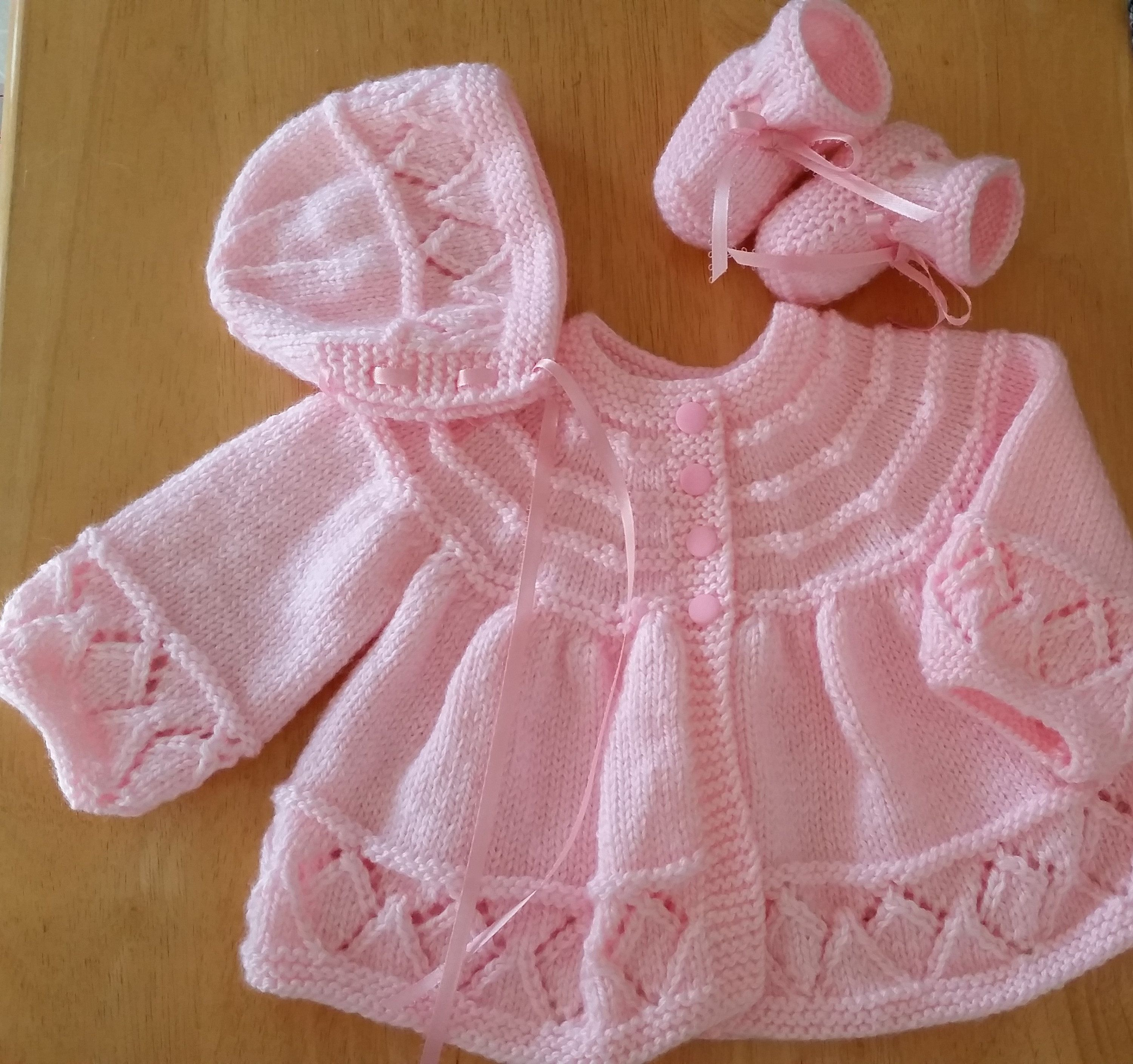 Photo of Baby Sweater Set, Baby Girl, Hand Knitted Sweater Bonnet Booties, Pink, 0-3 months Baby Girl, Reborn Doll, Shower Gift, Christening, Baptism