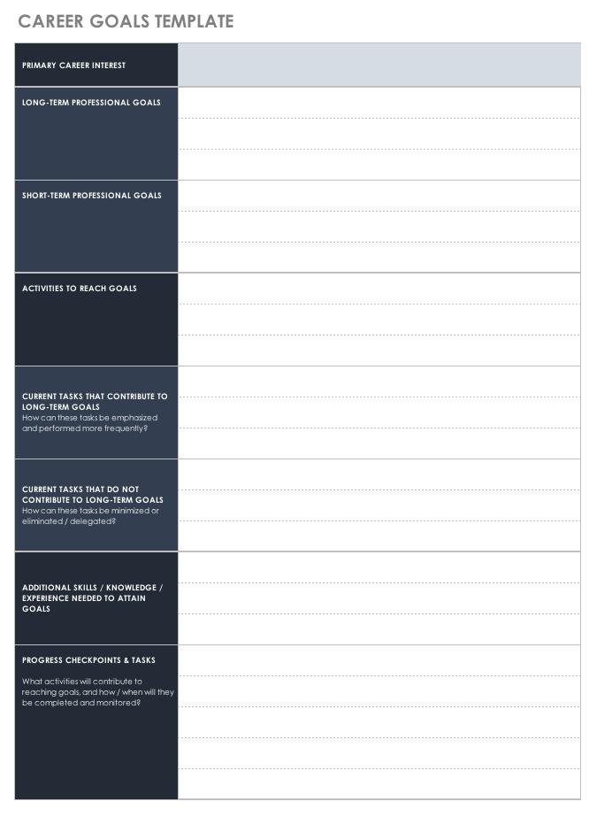 career goals template