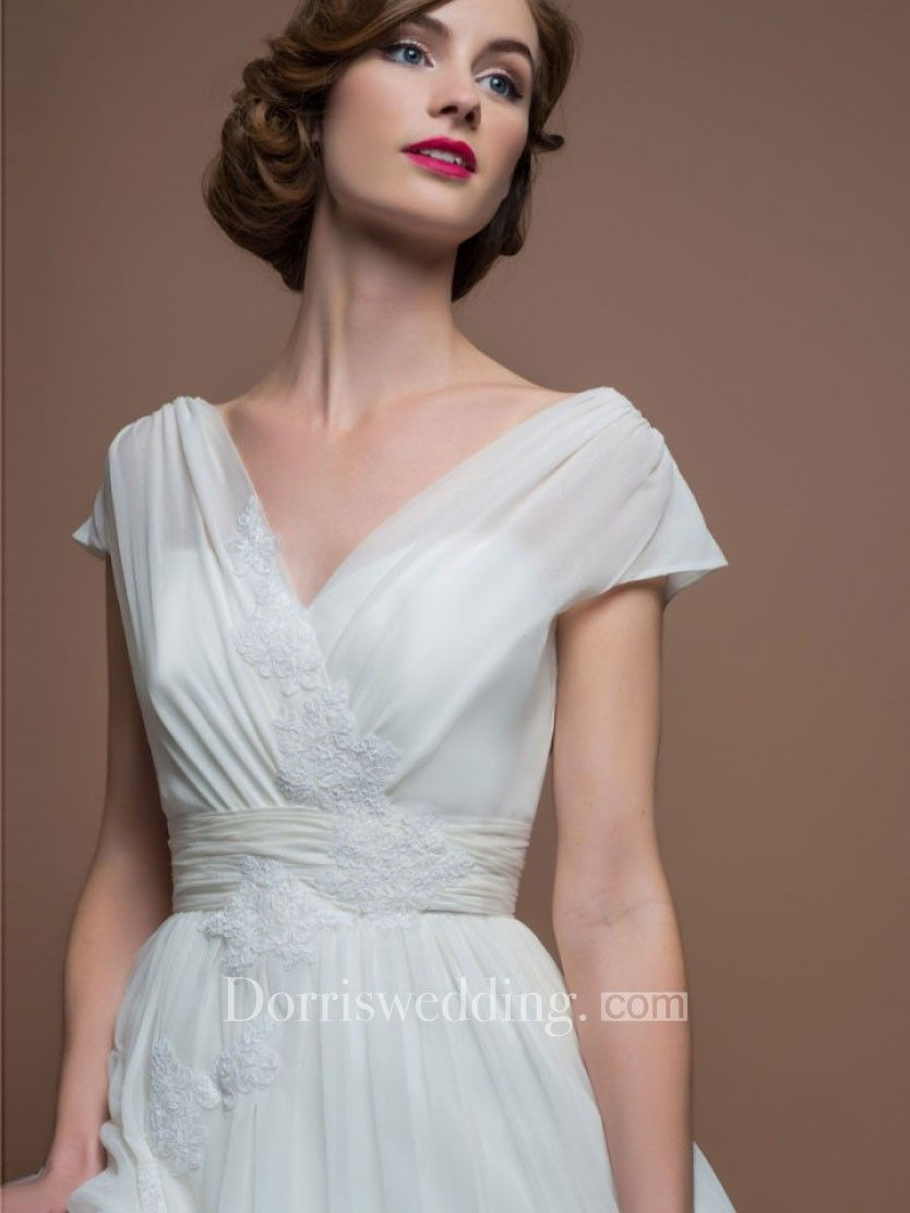 eeea1e84390 A-Line V-Neck Tea-Length Cap-Sleeve Appliqued Tulle Wedding Dress With  Ruching