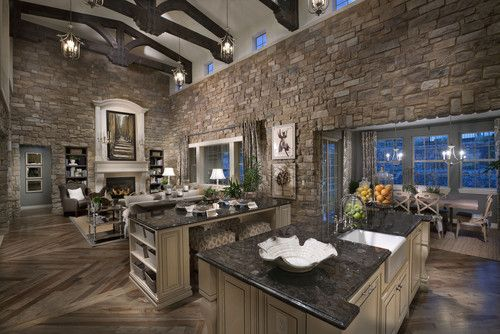 Mediterranean Family Room Open Concept Kitchen Living Room Design