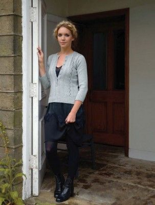 Chic cardigan knitting pattern by Kim Hargreaves in the Grace pattern book. Get it at LaughingHens.com